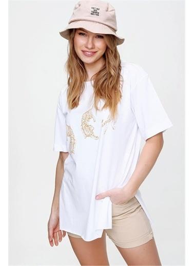 Pink Park Baskılı Yanı Yırtmaçlı Boyfrend T-Shirt HST0002 Beyaz
